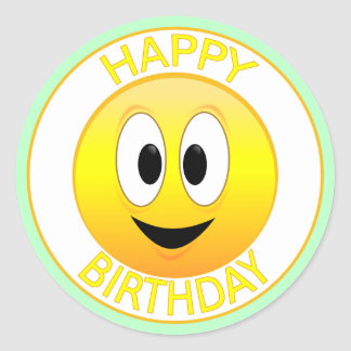 Happy Birthday Smiley Classic Round Sticker