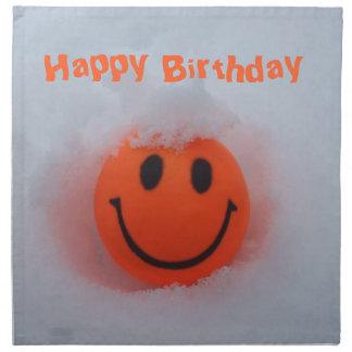 Happy Birthday-Smiley Face in Snow Napkin