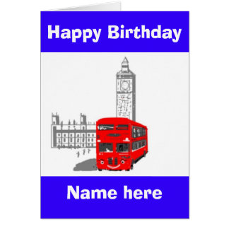 Happy Birthday, Smiling London Bus add name front Greeting Card