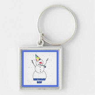 Happy Birthday  Snowman for Boy (Blue Trim) Keychains