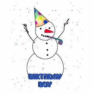 Happy Birthday  Snowman for Boy (Blue Trim) Photo Sculptures