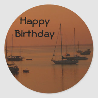 Happy Birthday, soft sunrise with sailboats Classic Round Sticker