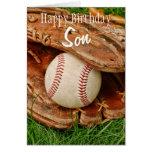 Happy Birthday Son Baseball with Mitt Greeting Card