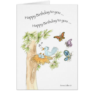 Happy Birthday Song Blue Birds Card