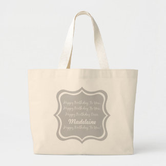Happy Birthday Song on Ash Grey Personalized Large Tote Bag