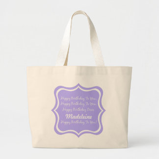 Happy Birthday Song on Blue Lilac Personalized Large Tote Bag