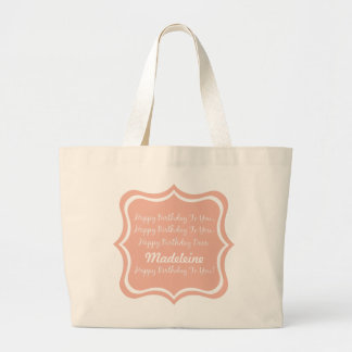 Happy Birthday Song on Sweet Peach Personalized Large Tote Bag