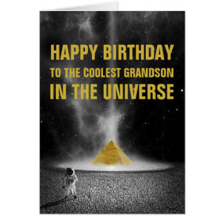 Happy Birthday Space Pyramid with Astronaut Card