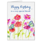 Happy Birthday Special Friend Blue Butterflies Card