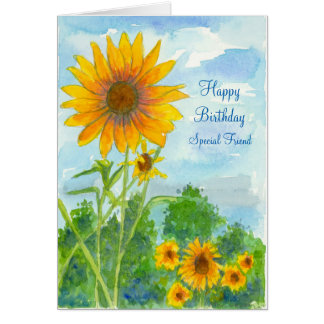 Happy Birthday Special Friend Sunflower Watercolor Card