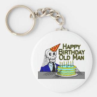 Happy Birthday Spider Web Old Man Basic Round Button Keychain