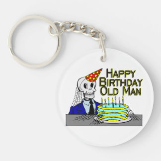 Happy Birthday Spider Web Old Man Double-Sided Round Acrylic Keychain