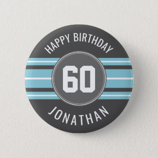 Happy Birthday Sports Jersey Stripes Name and Age 2 Inch Round Button