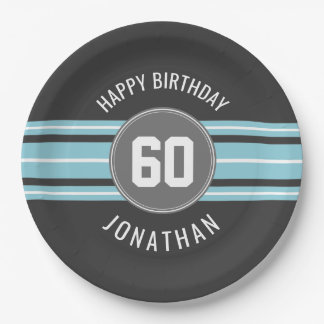 Happy Birthday Sports Jersey Stripes Name and Age 9 Inch Paper Plate