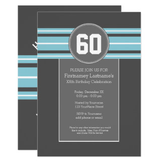Happy Birthday Sports Jersey Stripes Name and Age Card