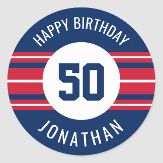 Happy Birthday Sports Jersey Stripes Name and Age Classic Round Sticker