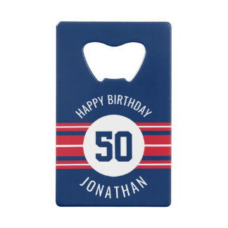 Happy Birthday Sports Jersey Stripes Name and Age Credit Card Bottle Opener