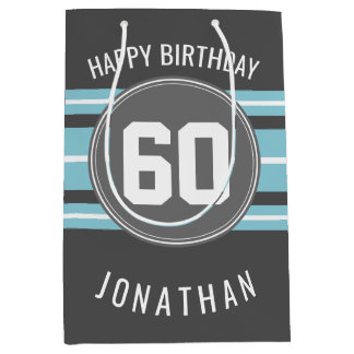 Happy Birthday Sports Jersey Stripes Name and Age Medium Gift Bag