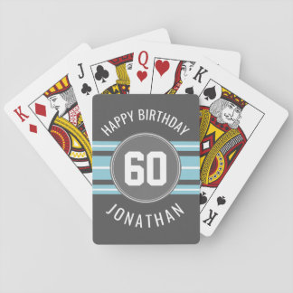 Happy Birthday Sports Jersey Stripes Name and Age Playing Cards