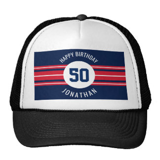 Happy Birthday Sports Jersey Stripes Name and Age Trucker Hat