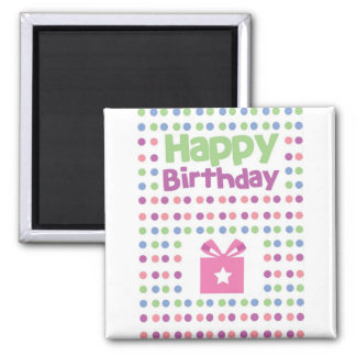Happy Birthday spotty card Square Magnet