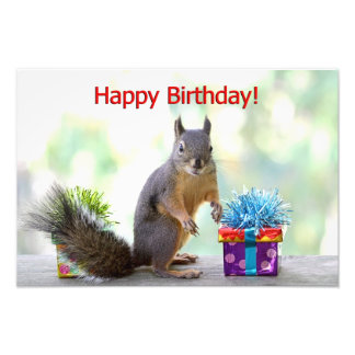 Happy Birthday Squirrel Photo Art