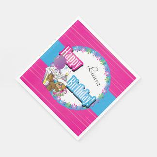Happy Birthday Squirrel - Pink Paper Napkin