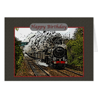 Happy Birthday Steam Engine Illustration Card