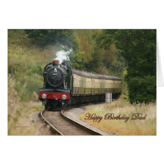 Happy Birthday Steam Locomotive for Dad Card