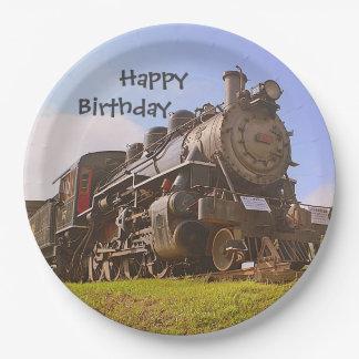 Happy Birthday Steam Train 9 Inch Paper Plate
