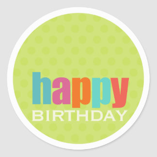 Happy Birthday Sticker2 Classic Round Sticker