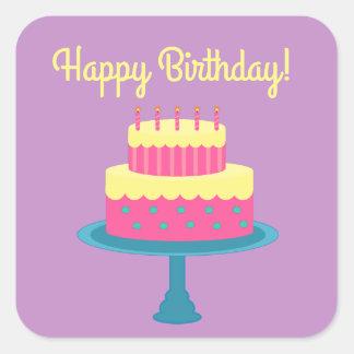 Happy Birthday Sticker with Cake