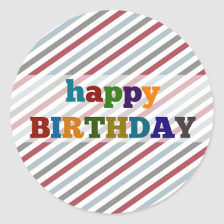 Happy Birthday Stickers Colorful Stripes