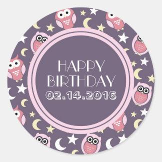 Happy Birthday Stickers Pink and Purple Night Owl