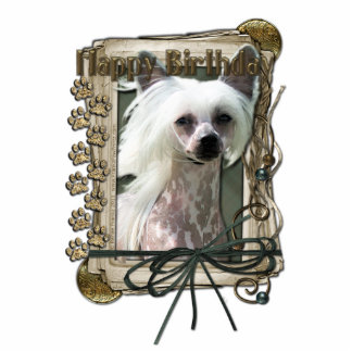 Happy Birthday - Stone Paws -Chinese Crested Kahlo Standing Photo Sculpture