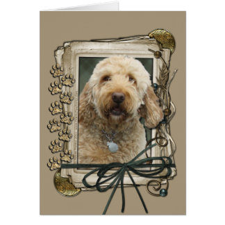 Happy Birthday - Stone Paws - GoldenDoodle Card
