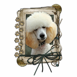 Happy Birthday - Stone Paws - Poodle - Apricot Standing Photo Sculpture