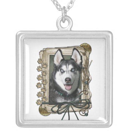 Happy Birthday - Stone Paws - Siberian Husky Personalized Necklace