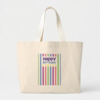 Happy Birthday stripey card Large Tote Bag