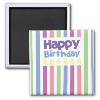 Happy Birthday stripey card Square Magnet