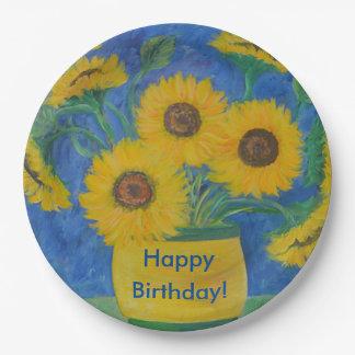 Happy Birthday Stunning Sunflower 9 Inch Paper Plate