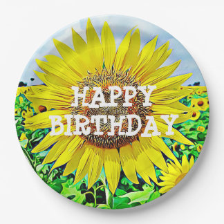 Happy Birthday Sunflower Party Paper Plates