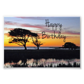 Happy Birthday Sunset on Beach Photo Print