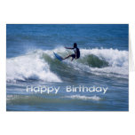 Happy Birthday Surfer Riding a Wave Greeting Card
