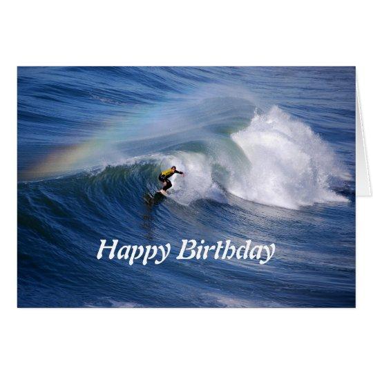 Happy Birthday Surfer With Rainbow Greeting Card