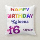 Happy Birthday Sweet 16 Throw Pillow