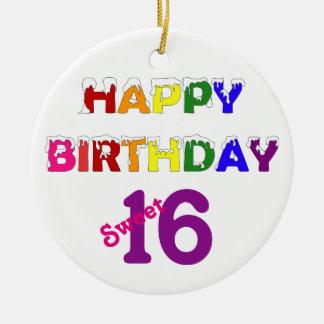 Happy Birthday Sweet 16 with Text Ceramic Ornament