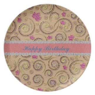 Happy Birthday Swirly Design Collector Gift Plate