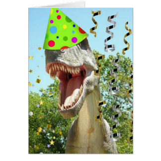 Happy Birthday T-Rex Dinosaur Greeting Card