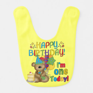 Happy Birthday Teddy Bear 1st Birthday Bib